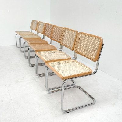 Set of 6 chrome / rattan dining chairs, 1970s