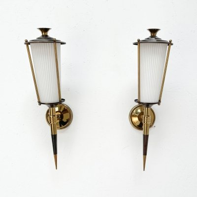Pair of french wall lamps, 1950s
