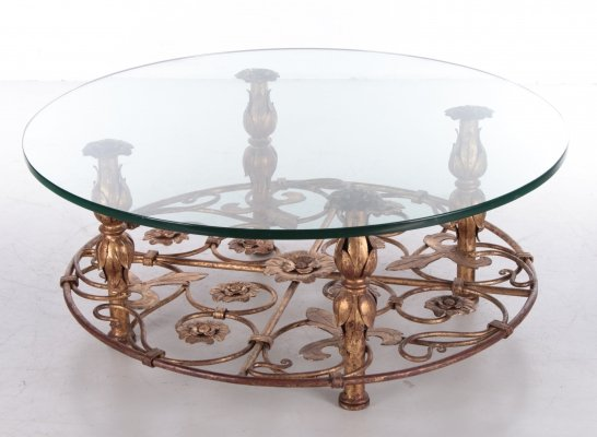 Vintage Hollywood Regency Coffee table with floral design, 1970s