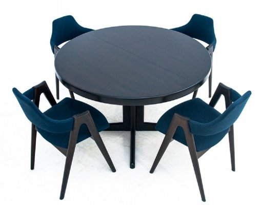 Compass table with four chairs by Kai Kristiansen, Denmark 1960s