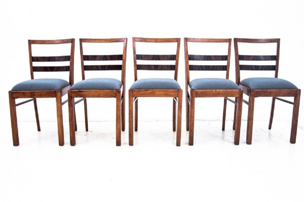 Set of 5 Art Deco dining chairs, Poland 1940s