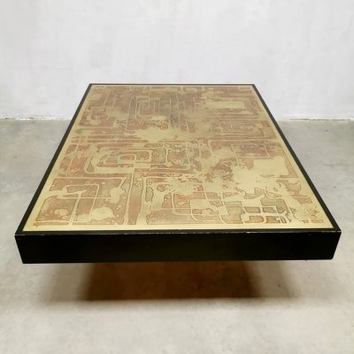 Etched brass & oxidized copper coffee table Bernhard Rohne
