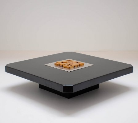1970s Bronze & wood coffee table by Georges Mathias