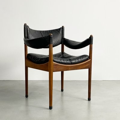 Leather & Rosewood Modus Chair by Kristian Vedel, c.1960
