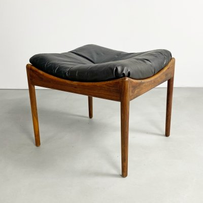 Danish Leather & Rosewood 'Modus' Ottoman by Kristian Vedel, c.1960
