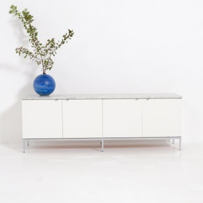 White Credenza with marble top by Florence Knoll