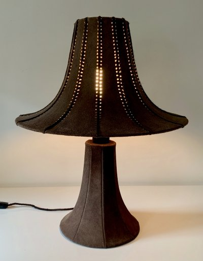 Oversized hand made Pagoda style table lamp in chocolate brown suede, 1960s