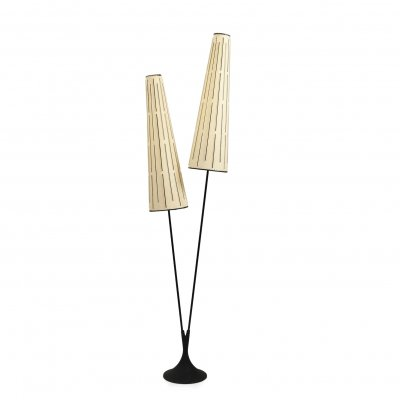 Svend Aage Holm Sørensen Double Cylindrical Shade Floor Lamp, 1950s
