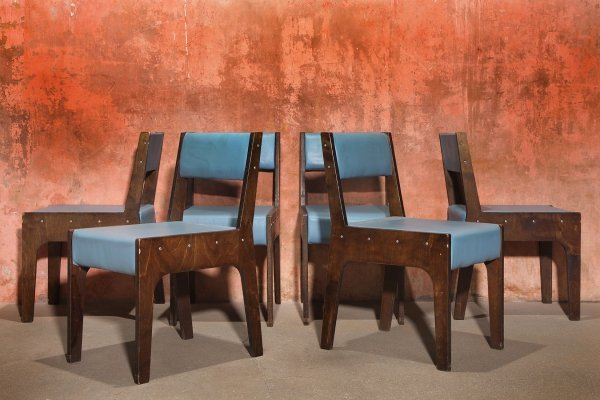 Set of 6 Vintage Skai Wooden Dining chairs, 80s