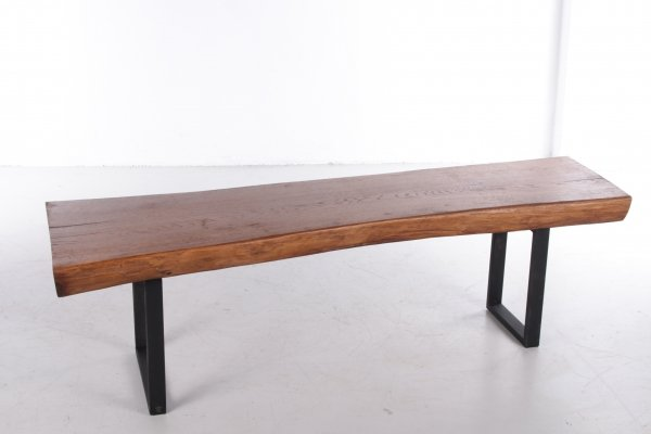 Industrial French oak bench or side table, 1960s