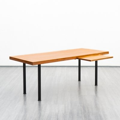 Vintage 1960s teak coffee table with pull-out plate