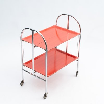 Red foldable 'Dinett' serving trolley, 1960s