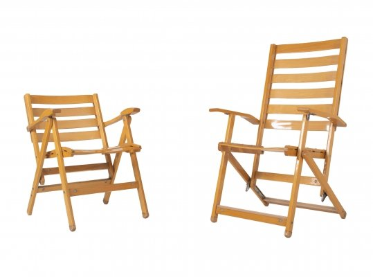 Set of Ico Parisi Folding Deck Chairs for Reguitti, Italy 1970s