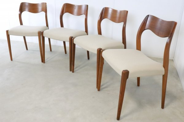 Set of 4 teak model 71 chairs by Niels Otto Moller
