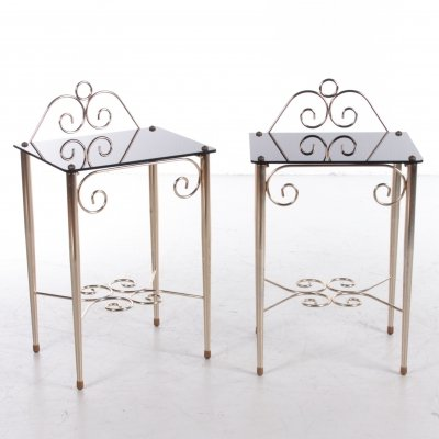 Pair of Vintage French bedside tables in glass & brass