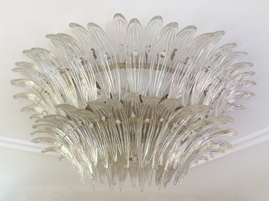 Palmette Ceiling Lamp / Flush Mount by Barovier & Toso, Murano Italy 1970s