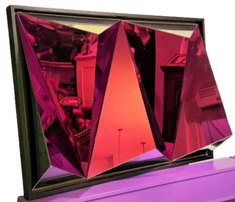 Vintage purple tinted abstract mirror, 1970s