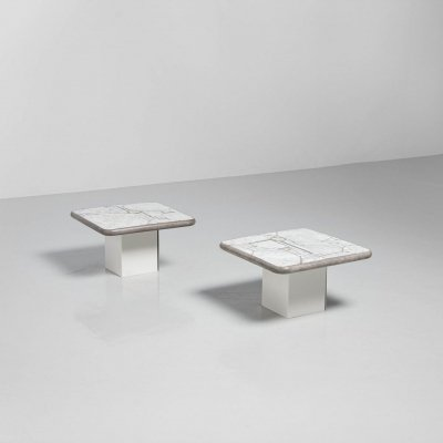 Marcus Kingma white marble side tables Holland, 1987
