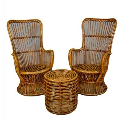 Armchairs & Pouf in Rattan & Bamboo, Italy 1970s