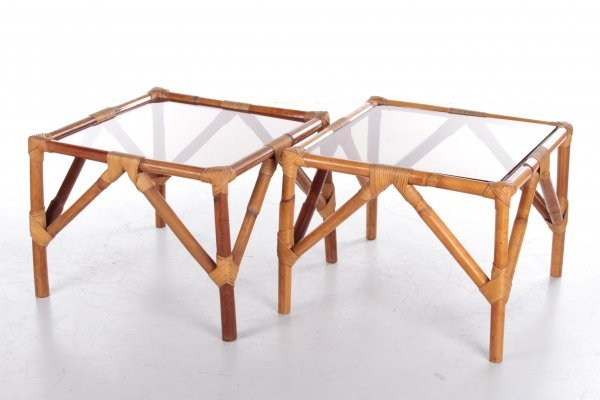 Vintage set of bamboo tables, France 1960s