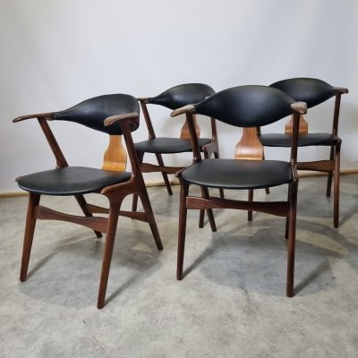 Set of 4 Vintage Cow Horn Chairs by Louis Van Teeffelen for Awa, 1950s