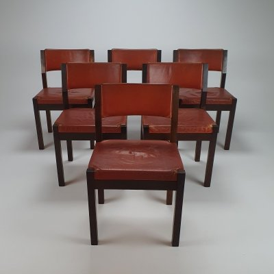 Set of 6 Cognac Leather & Wenge Dining Chairs by Martin Visser for Spectrum, 1960s