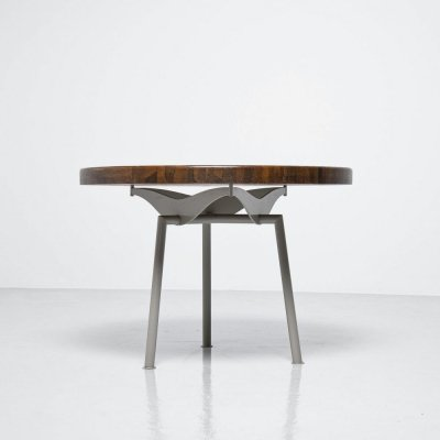 Industrial dining table with metal frame & oak top, France 1960