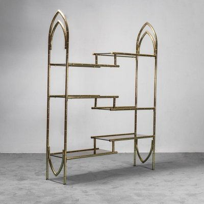 Gilded metal display cabinet with smoked glass, 1970s