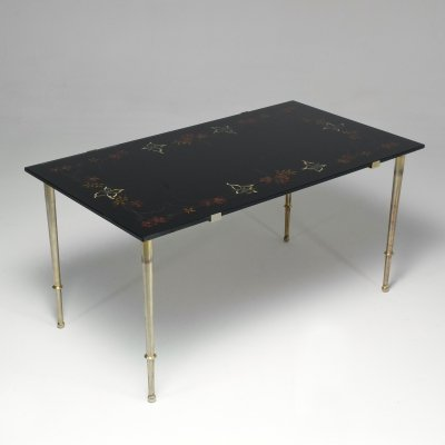 1970's French Floral Glass Hand-Painted Coffee Table