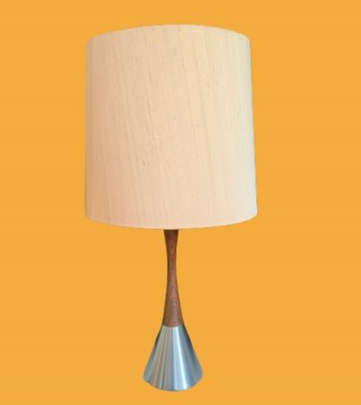 Mid century table lamp with brown shade by Bergboms, Sweden 1960s
