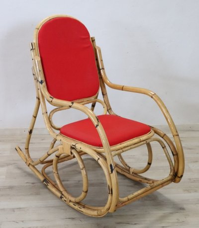 Vintage bamboo Rocking Chair, 1980s