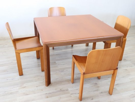 Swedish dining table & 4 chairs set, 1970s