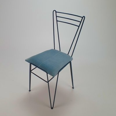 Mid Century Blue Lacquered Wire Chair, 1950s