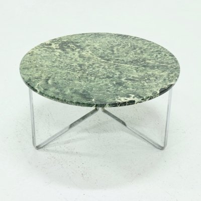 Mid Century Green Marble & Chromed Steel Round Coffee Table, 1960s
