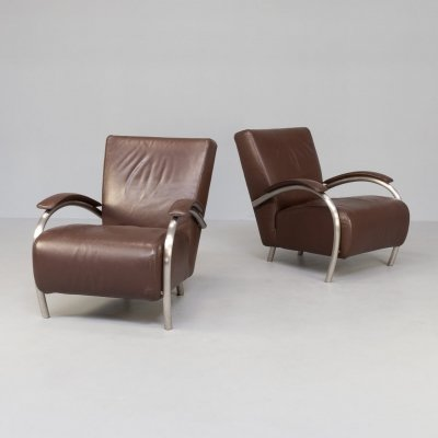 Pair of 'Accademia' leather lounge chairs for Molinari, 1980s