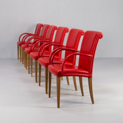 Set of 6 Vittoria dining armchairs for Poltrona Frau, 1990s