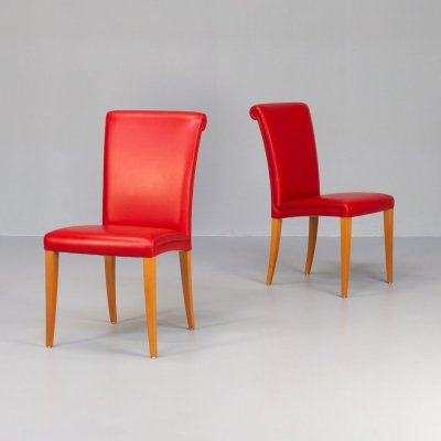 Pair of Vittoria dining armchairs for Poltrona Frau, 1990s