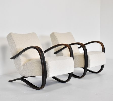 Pair of H269 lounge chairs by Jindřich Halabala for UP Závody, 1940s