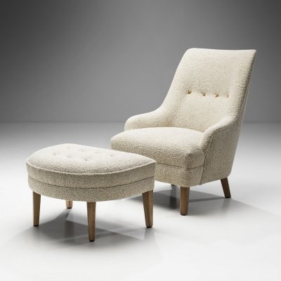 Swedish Armchair with Footstool, Sweden ca 1950s