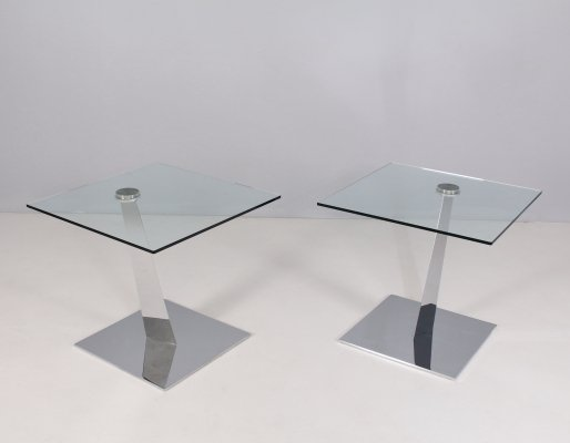 Pair of glass & steel ends of sofa by Naos, Italy 1990's