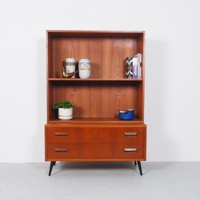 Vintage Danish Teak Bookcase Cabinet with Drawers, 1960s