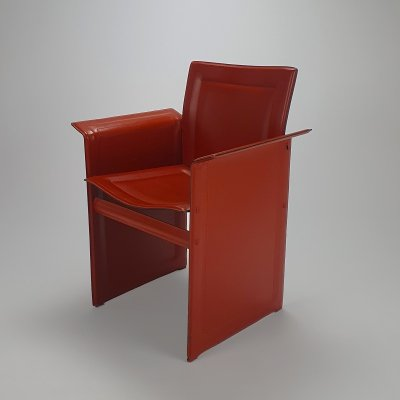 Postmodern Italian Red Saddle Leather Side Chair by Arrben Italy, 1980s