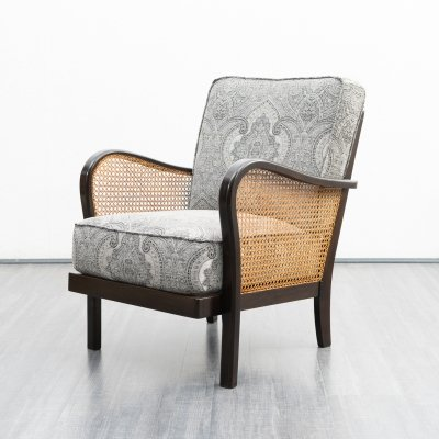 Mid-Century 1950s armchair with Viennese wicker