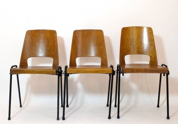 Set of 3 French Baumann chairs, 1950-1960