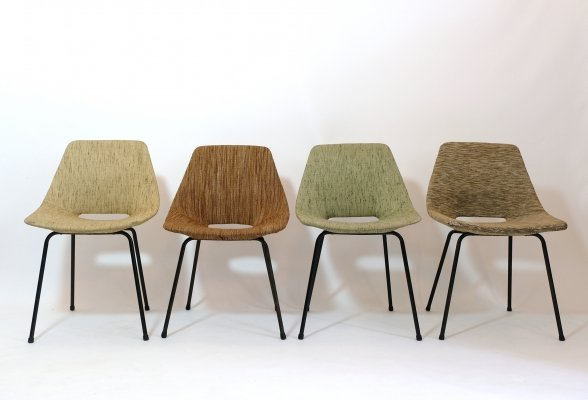 Set of 4 upholstered Pierre Guariche 'Tonneau' chairs by Steiner, 1950s