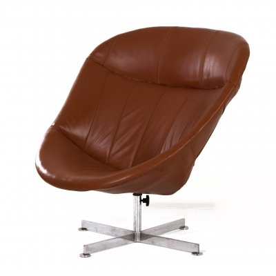 Brown Leather Modello Swivel Chair by Rudolf Wolf for Rohé Noordwolde, 1960s