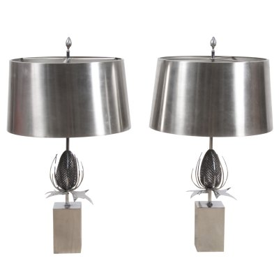 Pair of 1970s Maison Charles Thistle (Chardon) Table Lamps