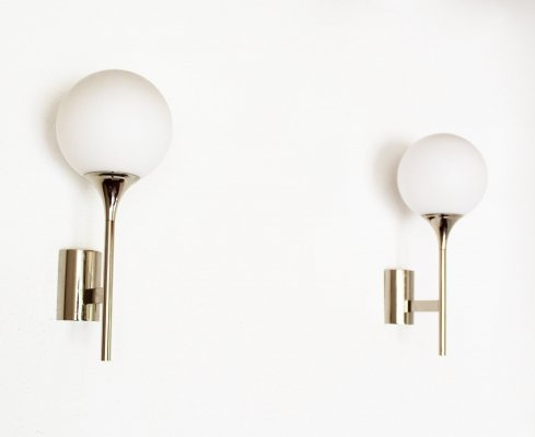 Pair of Chrome & Glass Wall Lights by Leclaire & Schäfer, 1970's