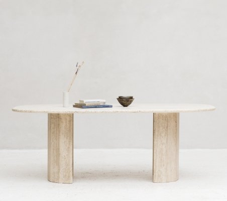 Travertine dining table, Italy 1970's
