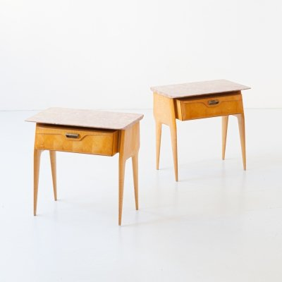 Pair of Bedside Tables with Marble top, 1950s